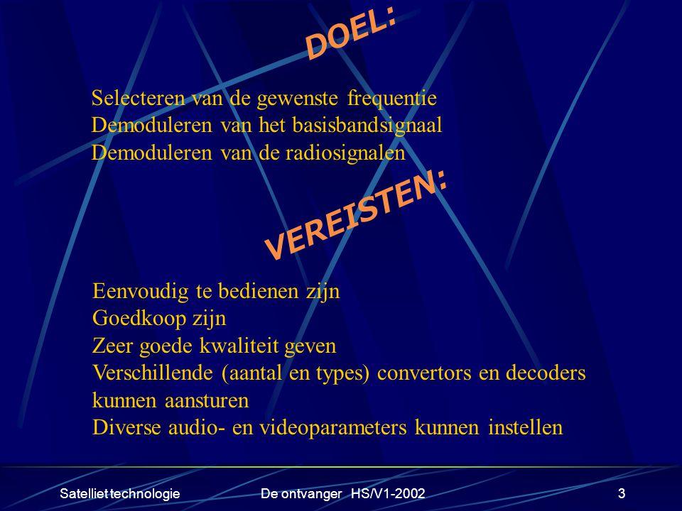 Satelliet technologieDe ontvanger HS/V1-20023 DOEL: Selecteren van de gewenste frequentie Demoduleren van het basisbandsignaal Demoduleren van de radi