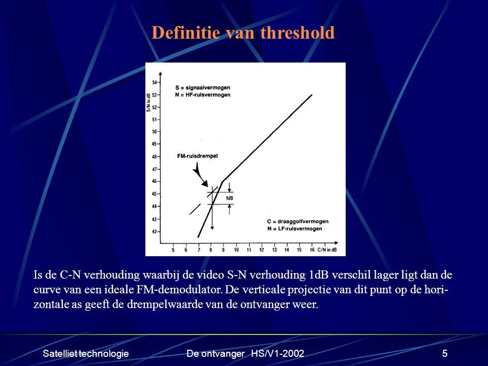 Satelliet technologieDe ontvanger HS/V1-20025 Definitie van threshold Is de C-N verhouding waarbij de video S-N verhouding 1dB verschil lager ligt dan