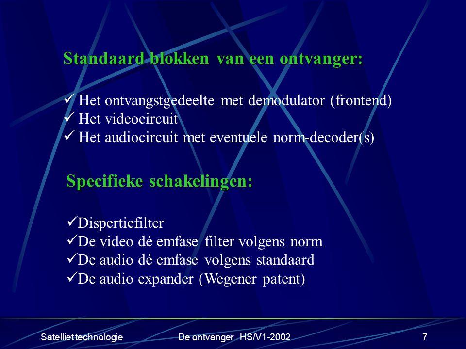Satelliet technologieDe ontvanger HS/V1-20027 Standaard blokken van een ontvanger: Het ontvangstgedeelte met demodulator (frontend) Het videocircuit H