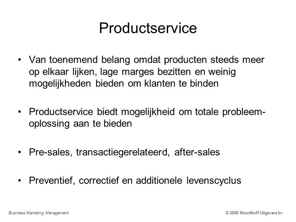 Business Marketing Management© 2008 Noordhoff Uitgevers bv Productservice Van toenemend belang omdat producten steeds meer op elkaar lijken, lage marg
