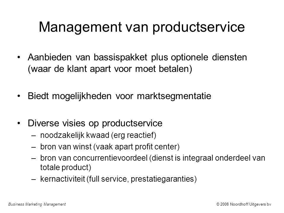 Business Marketing Management© 2008 Noordhoff Uitgevers bv Management van productservice Aanbieden van bassispakket plus optionele diensten (waar de k