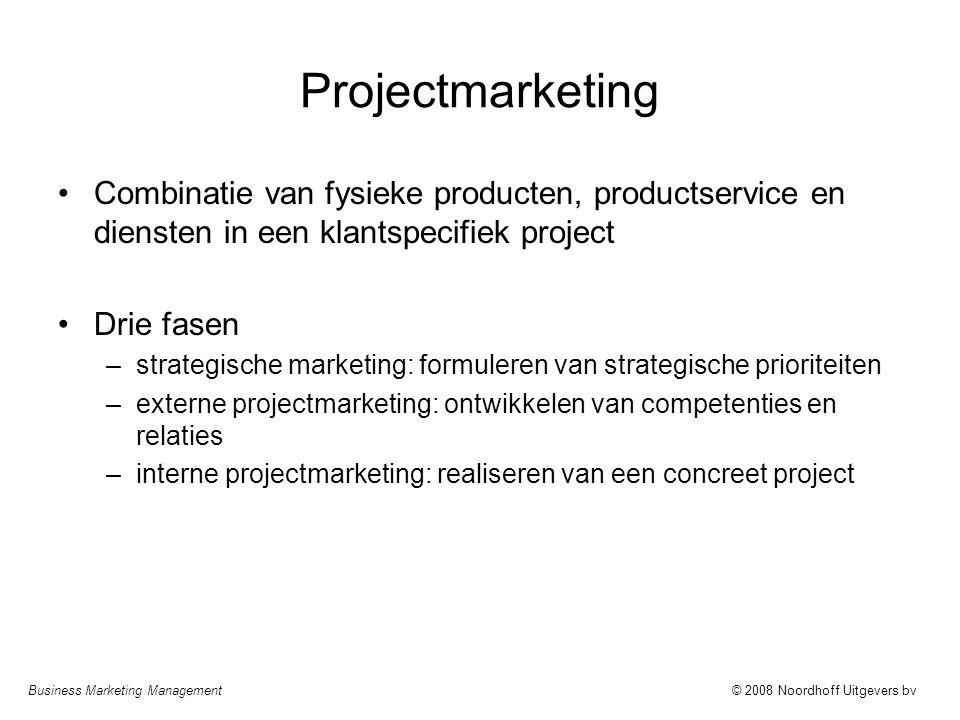 Business Marketing Management© 2008 Noordhoff Uitgevers bv Projectmarketing Combinatie van fysieke producten, productservice en diensten in een klants