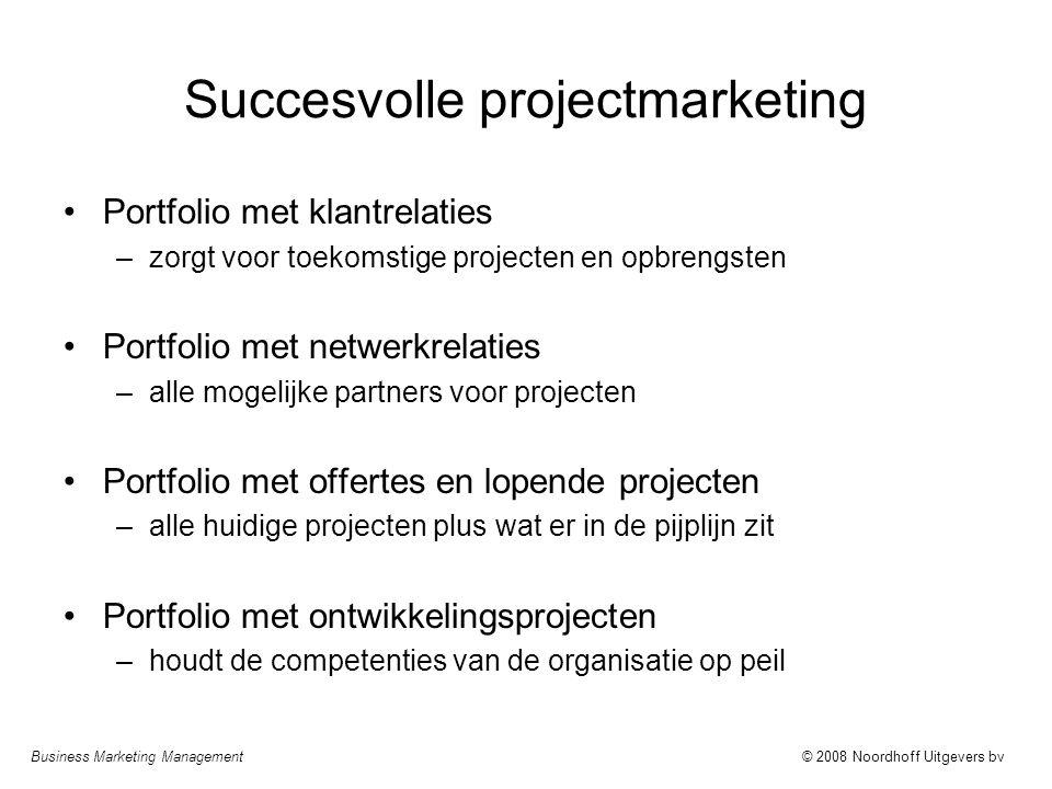 Business Marketing Management© 2008 Noordhoff Uitgevers bv Succesvolle projectmarketing Portfolio met klantrelaties –zorgt voor toekomstige projecten