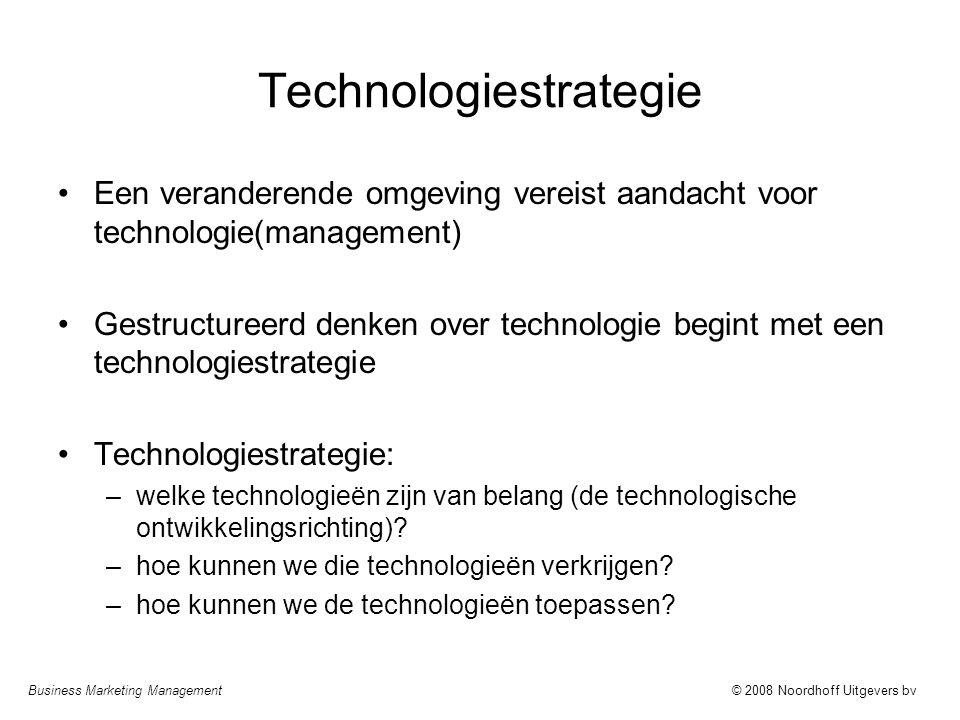 Business Marketing Management© 2008 Noordhoff Uitgevers bv Technologiestrategie Een veranderende omgeving vereist aandacht voor technologie(management