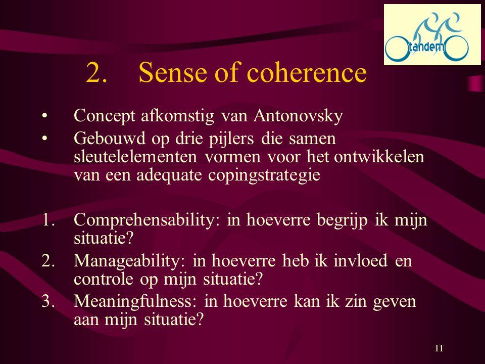 11 2. Sense of coherence Concept afkomstig van Antonovsky Gebouwd op drie pijlers die samen sleutelelementen vormen voor het ontwikkelen van een adequ
