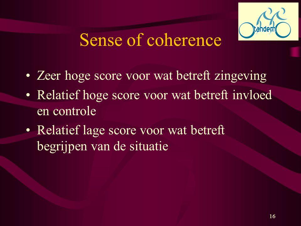 16 Sense of coherence Zeer hoge score voor wat betreft zingeving Relatief hoge score voor wat betreft invloed en controle Relatief lage score voor wat