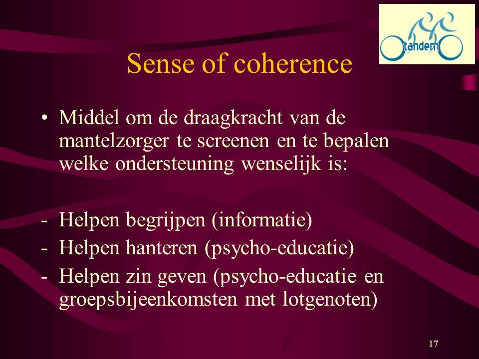 17 Sense of coherence Middel om de draagkracht van de mantelzorger te screenen en te bepalen welke ondersteuning wenselijk is: -Helpen begrijpen (info