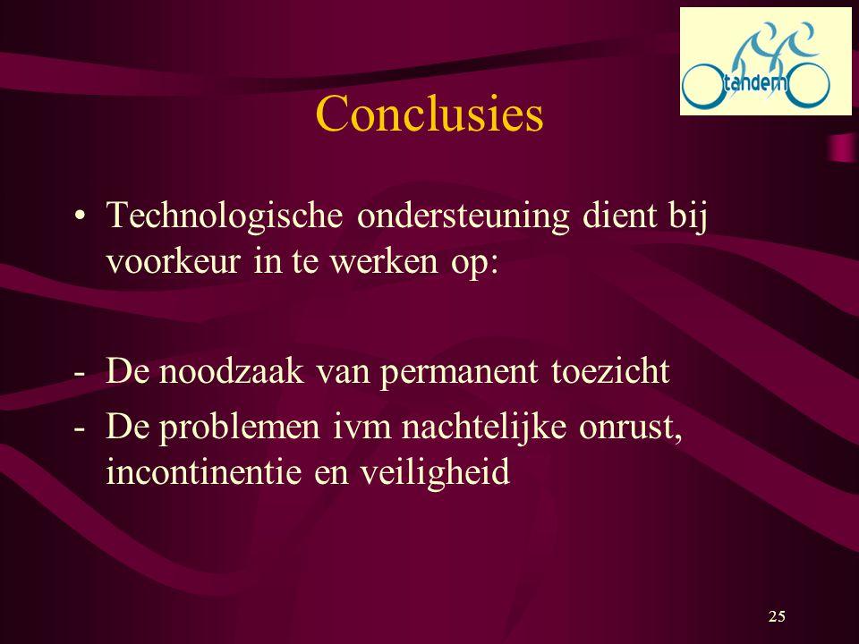 25 Conclusies Technologische ondersteuning dient bij voorkeur in te werken op: -De noodzaak van permanent toezicht -De problemen ivm nachtelijke onrus