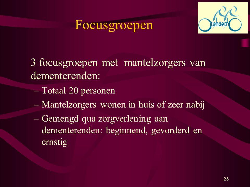 28 Focusgroepen 3 focusgroepen met mantelzorgers van dementerenden: –Totaal 20 personen –Mantelzorgers wonen in huis of zeer nabij –Gemengd qua zorgve