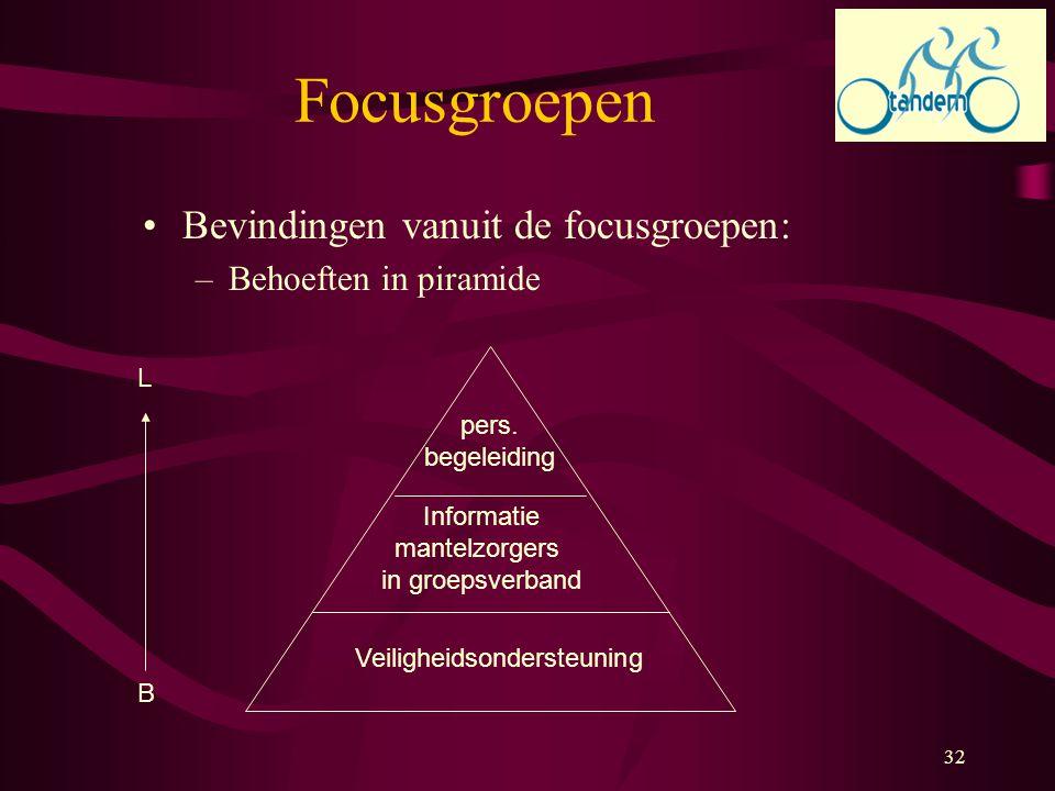 32 Bevindingen vanuit de focusgroepen: –Behoeften in piramide L B Veiligheidsondersteuning Informatie mantelzorgers in groepsverband pers. begeleiding