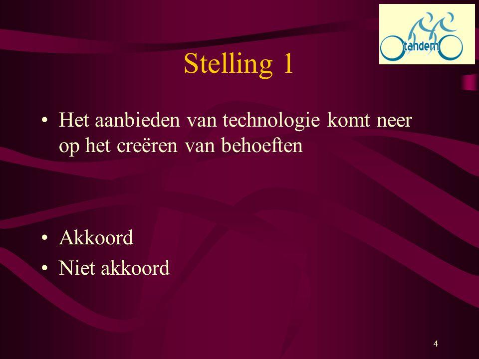 4 Stelling 1 Het aanbieden van technologie komt neer op het creëren van behoeften Akkoord Niet akkoord