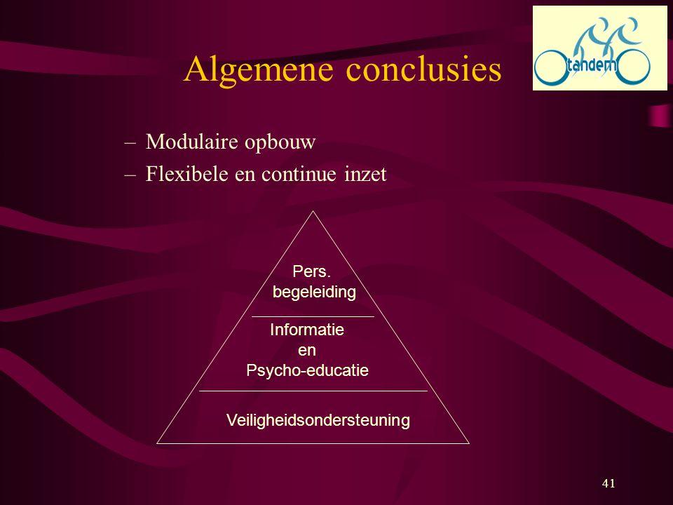 41 Algemene conclusies –Modulaire opbouw –Flexibele en continue inzet Veiligheidsondersteuning Informatie en Psycho-educatie Pers. begeleiding