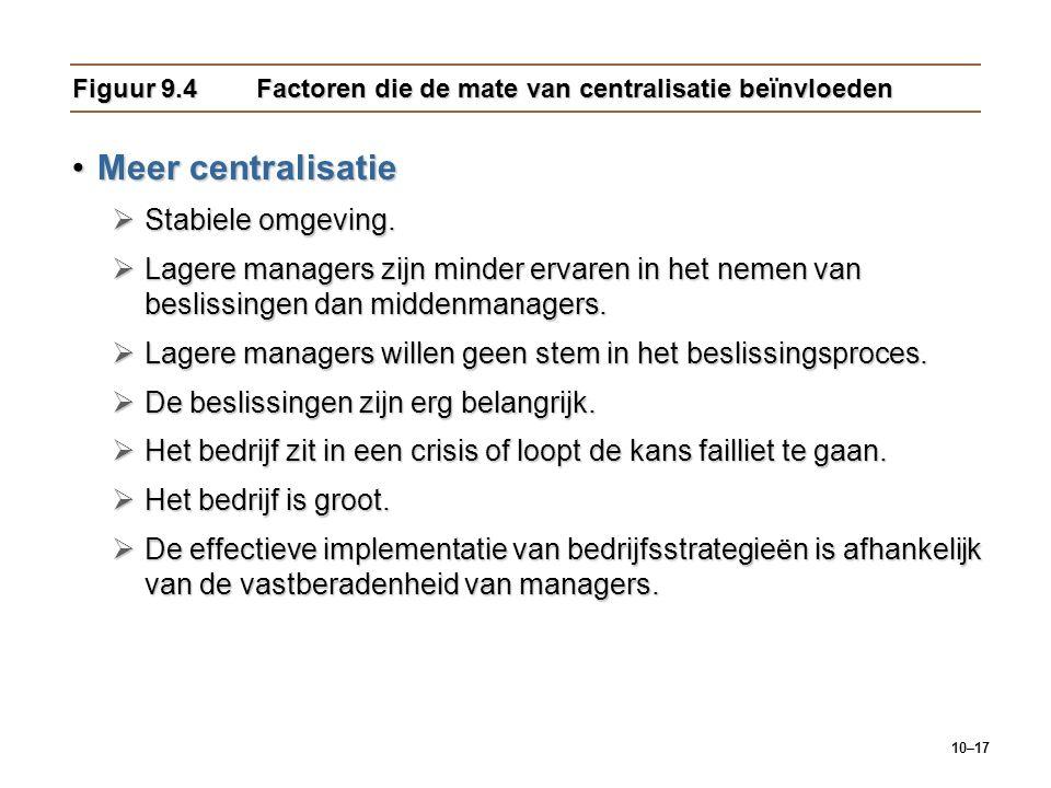 10–17 Figuur 9.4Factoren die de mate van centralisatie beïnvloeden Meer centralisatieMeer centralisatie  Stabiele omgeving.  Lagere managers zijn mi