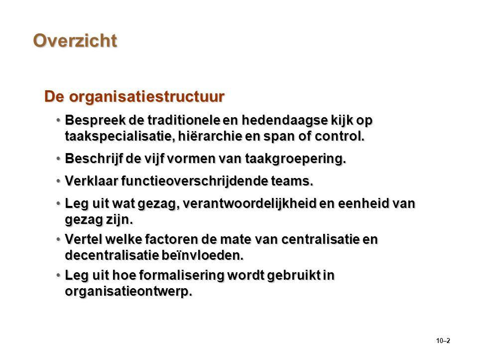 10–2 Overzicht De organisatiestructuur Bespreek de traditionele en hedendaagse kijk op taakspecialisatie, hiërarchie en span of control.Bespreek de tr