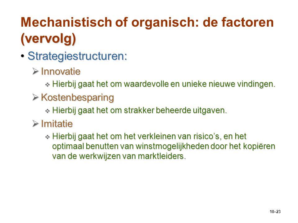 10–23 (vervolg) Mechanistisch of organisch: de factoren (vervolg) Strategiestructuren:Strategiestructuren:  Innovatie  Hierbij gaat het om waardevol