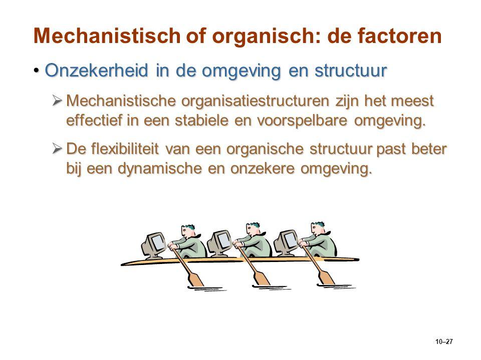 10–27 Mechanistisch of organisch: de factoren Onzekerheid in de omgeving en structuurOnzekerheid in de omgeving en structuur  Mechanistische organisa