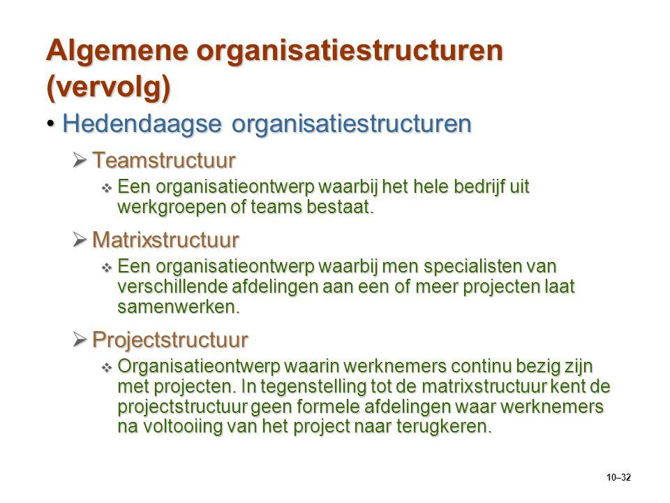 10–32 Algemene organisatiestructuren (vervolg) Hedendaagse organisatiestructurenHedendaagse organisatiestructuren  Teamstructuur  Een organisatieont