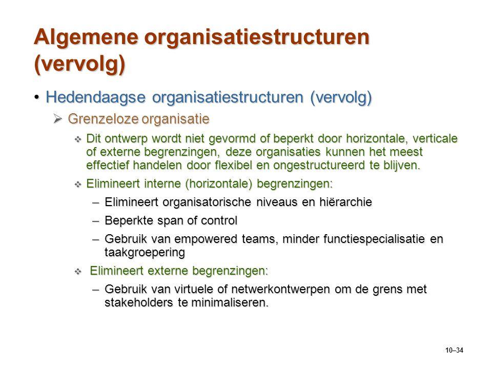10–34 Algemene organisatiestructuren (vervolg) Hedendaagse organisatiestructuren (vervolg)Hedendaagse organisatiestructuren (vervolg)  Grenzeloze org