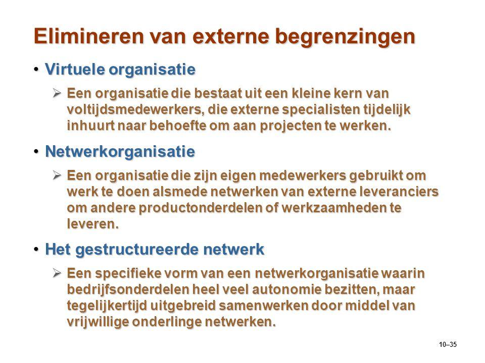 10–35 Elimineren van externe begrenzingen Virtuele organisatieVirtuele organisatie  Een organisatie die bestaat uit een kleine kern van voltijdsmedew