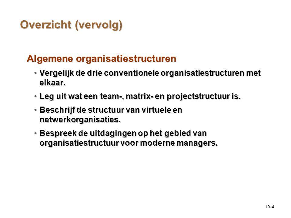 10–4 Overzicht (vervolg) Algemene organisatiestructuren Vergelijk de drie conventionele organisatiestructuren met elkaar.Vergelijk de drie conventione