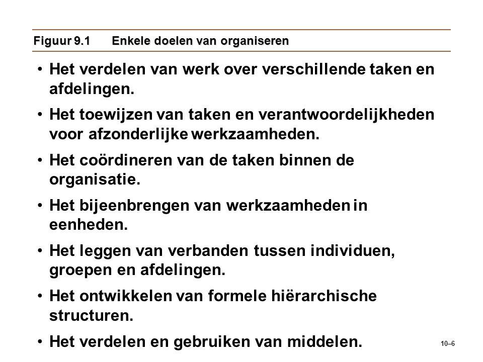 10–6 Figuur 9.1Enkele doelen van organiseren Het verdelen van werk over verschillende taken en afdelingen. Het toewijzen van taken en verantwoordelijk