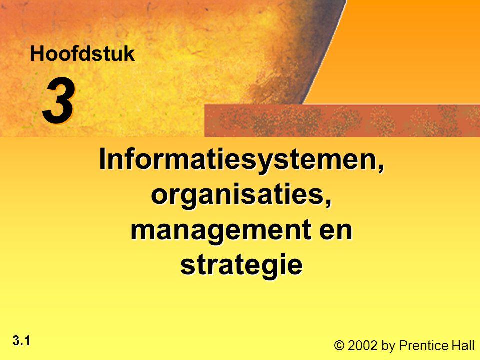 3.2 © 2002 by Prentice Hall Na dit hoofdstuk ben je in staat om: © 2002 by Prentice Hall de kenmerken van organisaties te benoemen;de kenmerken van organisaties te benoemen; de relatie tussen informatiesystemen en organisaties te analyseren;de relatie tussen informatiesystemen en organisaties te analyseren; het verschil aan te geven tussen klassieke en moderne modellen voor managementactiviteiten en -rollen;het verschil aan te geven tussen klassieke en moderne modellen voor managementactiviteiten en -rollen; te beschrijven hoe managers in een organisatie beslissingen nemen;te beschrijven hoe managers in een organisatie beslissingen nemen; de rol van informatiesystemen te evalueren bij de ondersteuning van ondernemingsstrategieën op verschillende niveaus.de rol van informatiesystemen te evalueren bij de ondersteuning van ondernemingsstrategieën op verschillende niveaus.