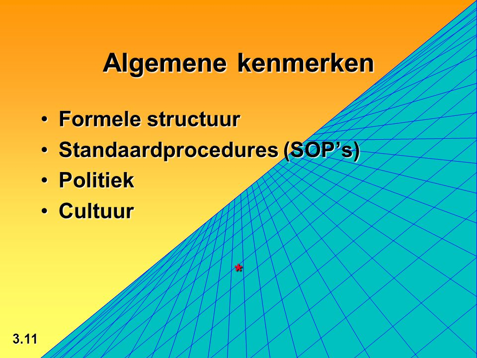 3.11 © 2002 by Prentice Hall Algemene kenmerken Formele structuurFormele structuur Standaardprocedures (SOP's)Standaardprocedures (SOP's) PolitiekPolitiek CultuurCultuur*