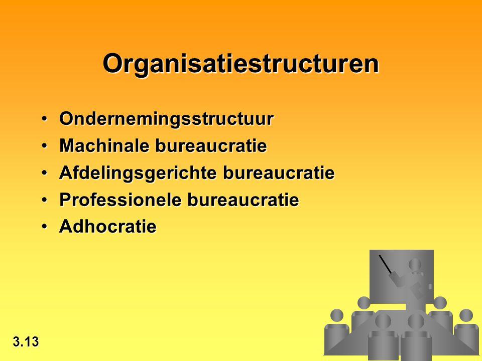 3.13 © 2002 by Prentice Hall Organisatiestructuren OndernemingsstructuurOndernemingsstructuur Machinale bureaucratieMachinale bureaucratie Afdelingsge