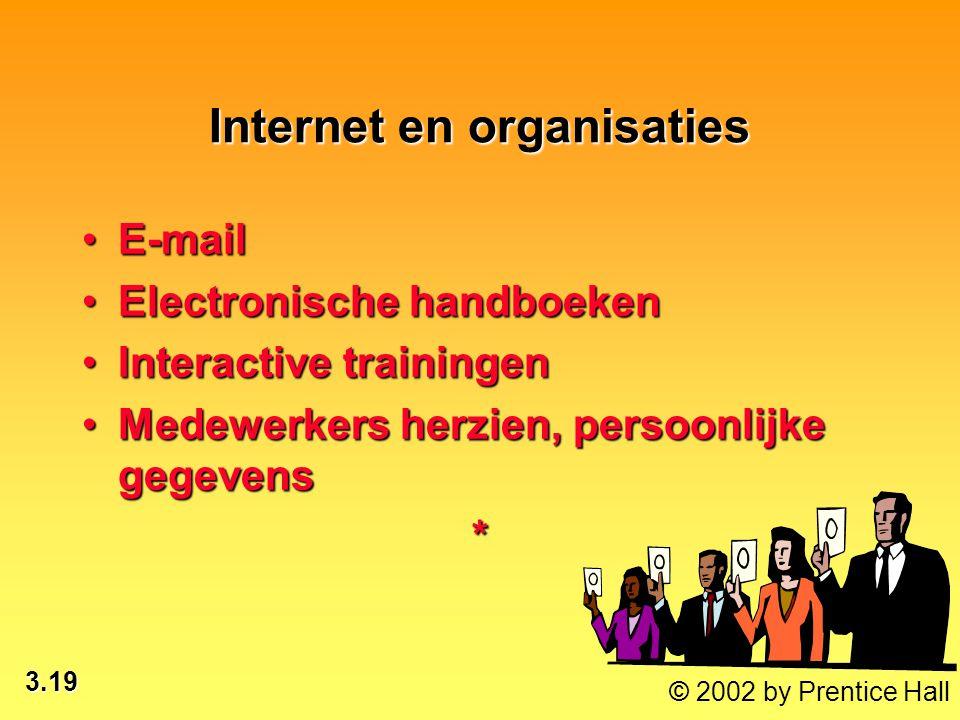 3.19 © 2002 by Prentice Hall Internet en organisaties E-mailE-mail Electronische handboekenElectronische handboeken Interactive trainingenInteractive