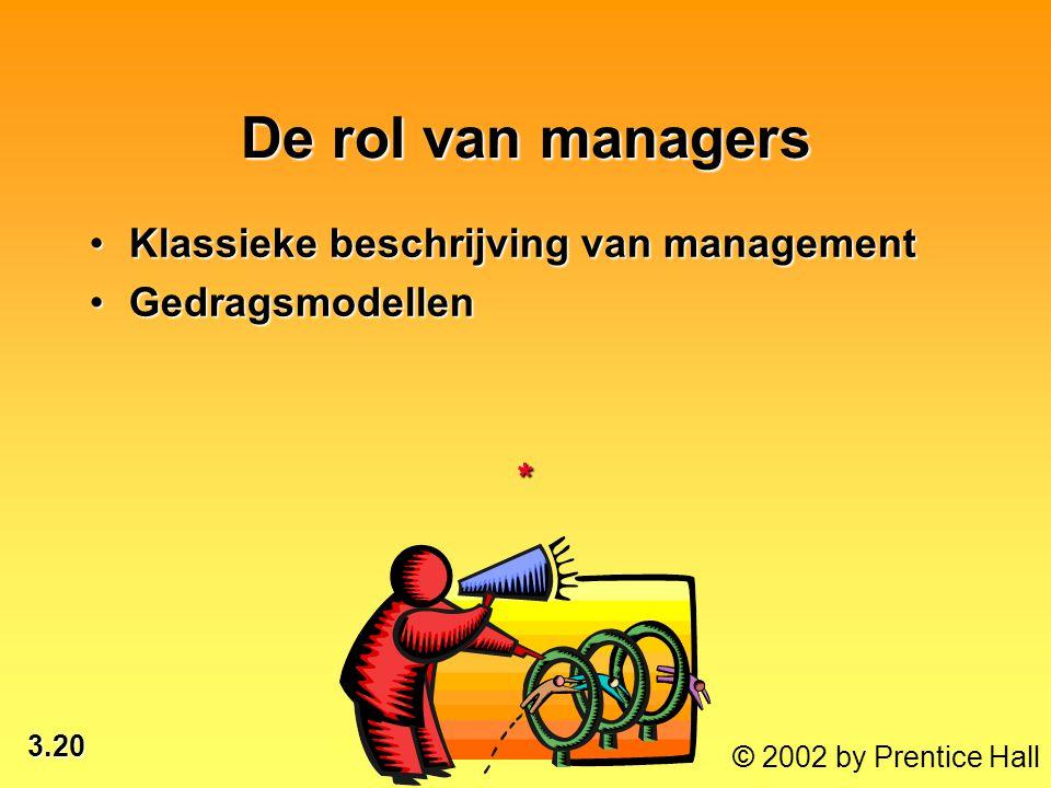 3.20 © 2002 by Prentice Hall De rol van managers Klassieke beschrijving van managementKlassieke beschrijving van management GedragsmodellenGedragsmode