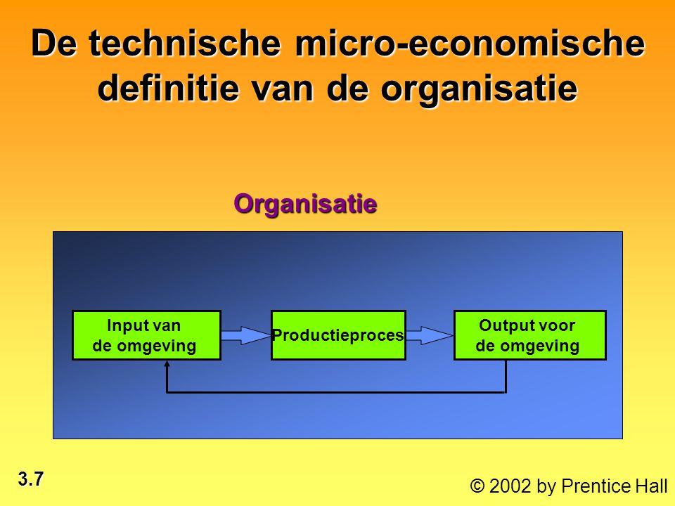 3.7 © 2002 by Prentice Hall De technische micro-economische definitie van de organisatie Output voor de omgevingOrganisatie Productieproces Input van
