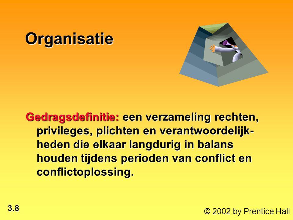3.8 © 2002 by Prentice Hall Organisatie Gedragsdefinitie: een verzameling rechten, privileges, plichten en verantwoordelijk- heden die elkaar langduri