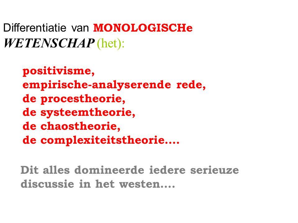 Differentiatie van MONOLOGISCHe WETENSCHAP (het): positivisme, empirische-analyserende rede, de procestheorie, de systeemtheorie, de chaostheorie, de complexiteitstheorie….