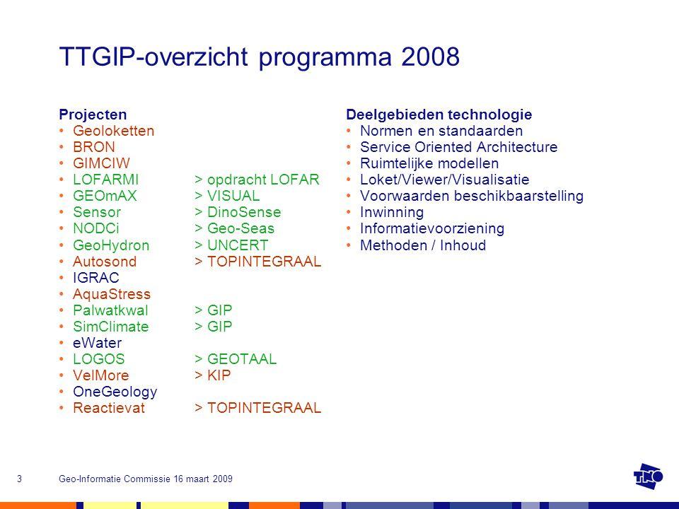 Geo-Informatie Commissie 16 maart 20093 TTGIP-overzicht programma 2008 Projecten Geoloketten BRON GIMCIW LOFARMI > opdracht LOFAR GEOmAX > VISUAL Sens