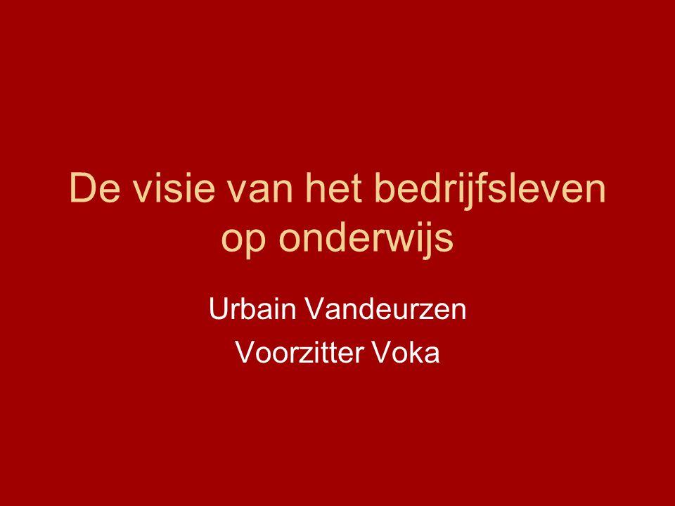 De visie van het bedrijfsleven op onderwijs Urbain Vandeurzen Voorzitter Voka