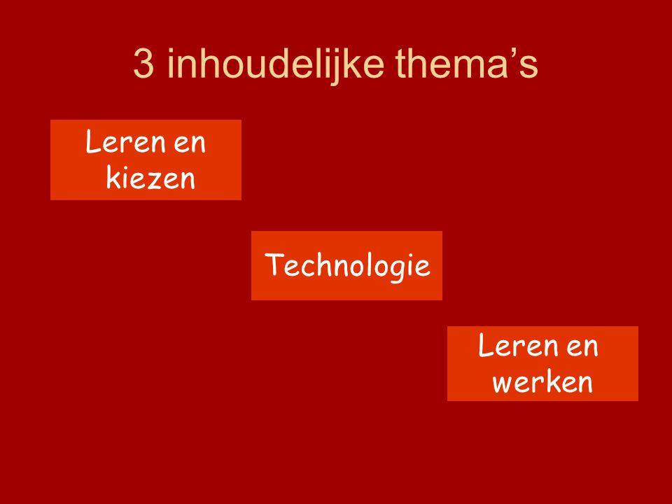 3 inhoudelijke thema's Leren en kiezen Technologie Leren en werken
