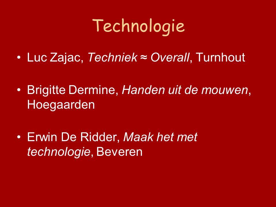 Technologie Luc Zajac, Techniek ≈ Overall, Turnhout Brigitte Dermine, Handen uit de mouwen, Hoegaarden Erwin De Ridder, Maak het met technologie, Beveren