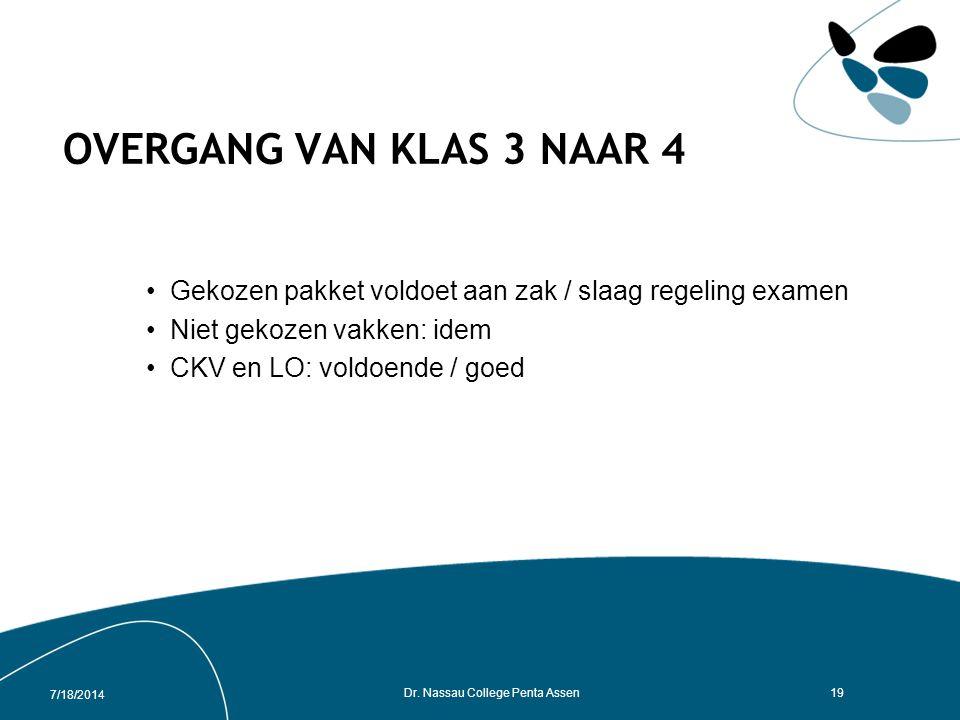 7/18/2014 Dr. Nassau College Penta Assen18 Oriëntatie op studie en beroep TL3/4 - studie beurs Groningen (najaar) TL3 - serie lessen / methode Talente