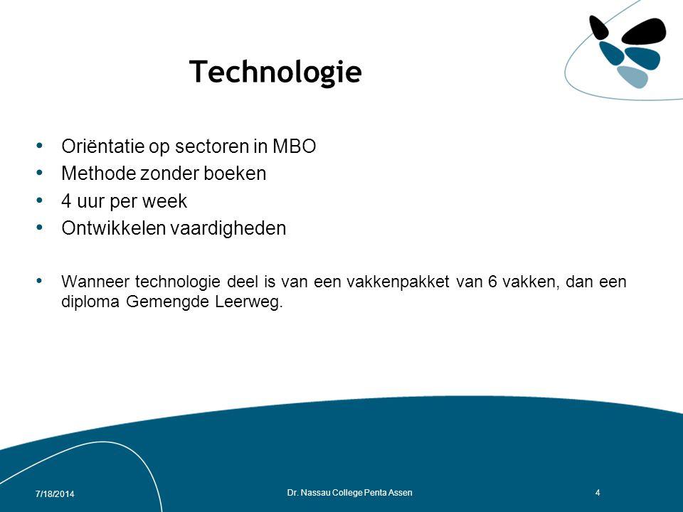Technologie Oriëntatie op sectoren in MBO Methode zonder boeken 4 uur per week Ontwikkelen vaardigheden Wanneer technologie deel is van een vakkenpakket van 6 vakken, dan een diploma Gemengde Leerweg.