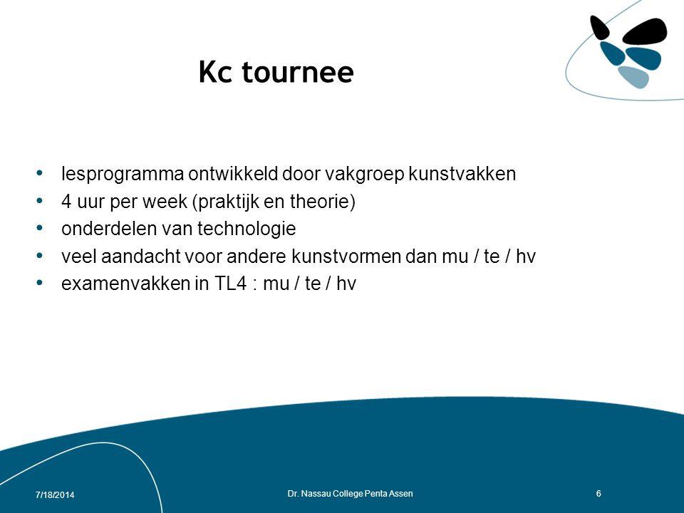 Kc tournee lesprogramma ontwikkeld door vakgroep kunstvakken 4 uur per week (praktijk en theorie) onderdelen van technologie veel aandacht voor andere kunstvormen dan mu / te / hv examenvakken in TL4 : mu / te / hv 7/18/2014 Dr.