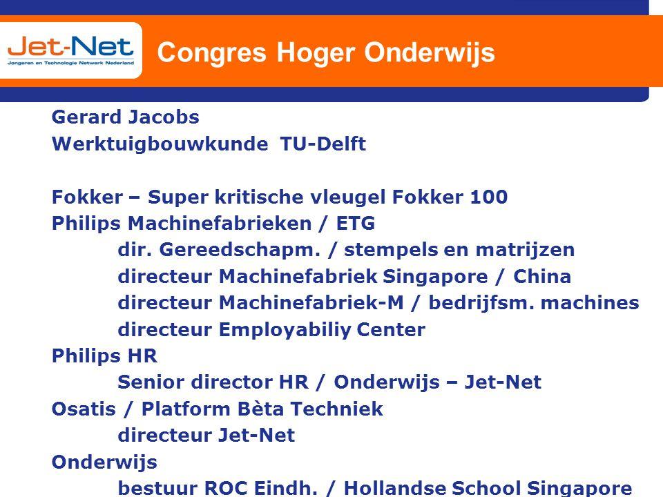 Congres Hoger Onderwijs Gerard Jacobs Werktuigbouwkunde TU-Delft Fokker – Super kritische vleugel Fokker 100 Philips Machinefabrieken / ETG dir. Geree