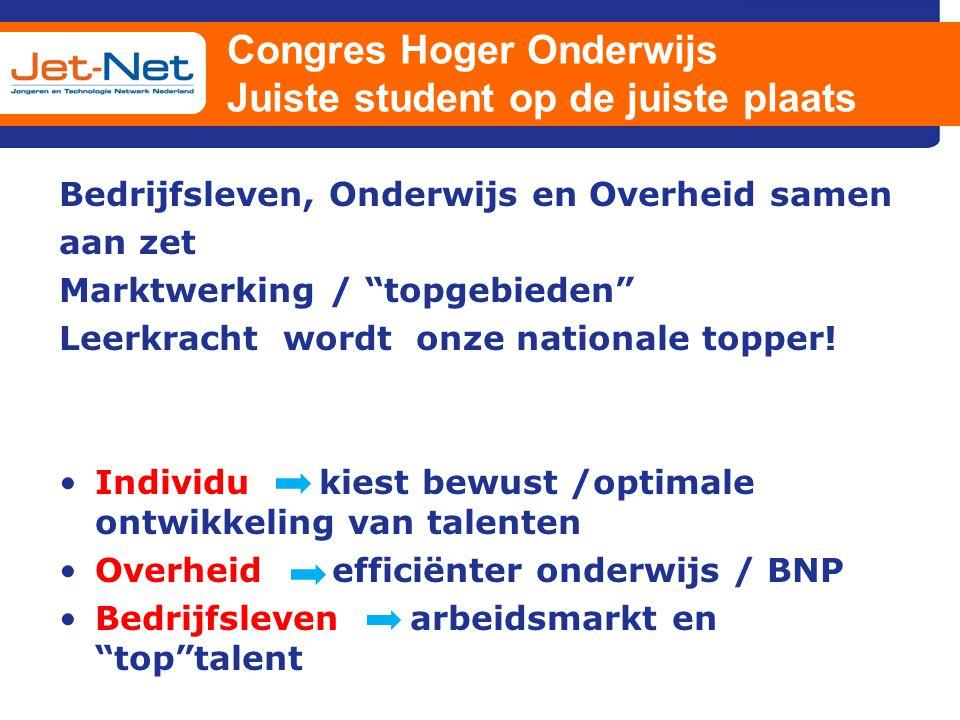"""Congres Hoger Onderwijs Juiste student op de juiste plaats Bedrijfsleven, Onderwijs en Overheid samen aan zet Marktwerking / """"topgebieden"""" Leerkracht"""