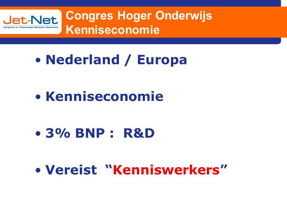 """Congres Hoger Onderwijs Kenniseconomie Nederland / Europa Kenniseconomie 3% BNP : R&D Vereist """"Kenniswerkers"""""""