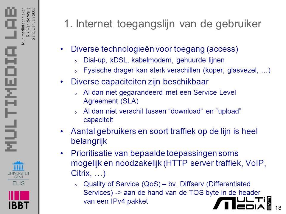 Multimediatechnieken 18 Rik Van de WalleGent, Januari 2005 1. Internet toegangslijn van de gebruiker Diverse technologieën voor toegang (access) o Dia