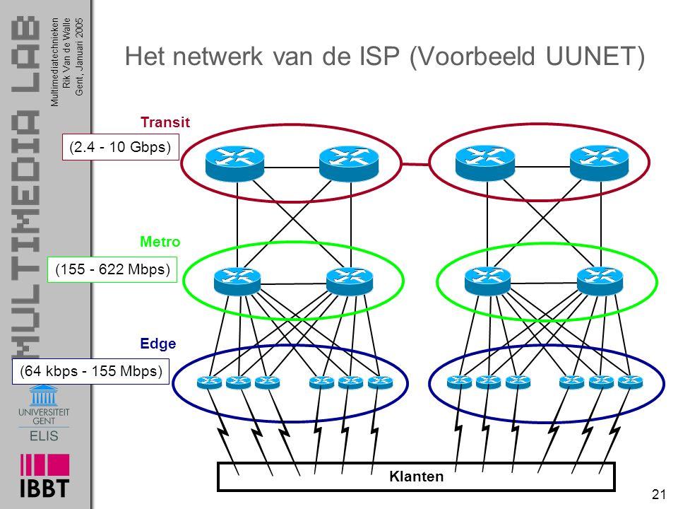 Multimediatechnieken 21 Rik Van de WalleGent, Januari 2005 Het netwerk van de ISP (Voorbeeld UUNET) Transit Metro Edge Klanten (2.4 - 10 Gbps) (155 -