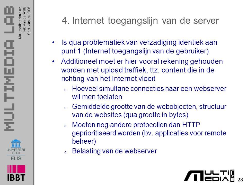 Multimediatechnieken 23 Rik Van de WalleGent, Januari 2005 4. Internet toegangslijn van de server Is qua problematiek van verzadiging identiek aan pun