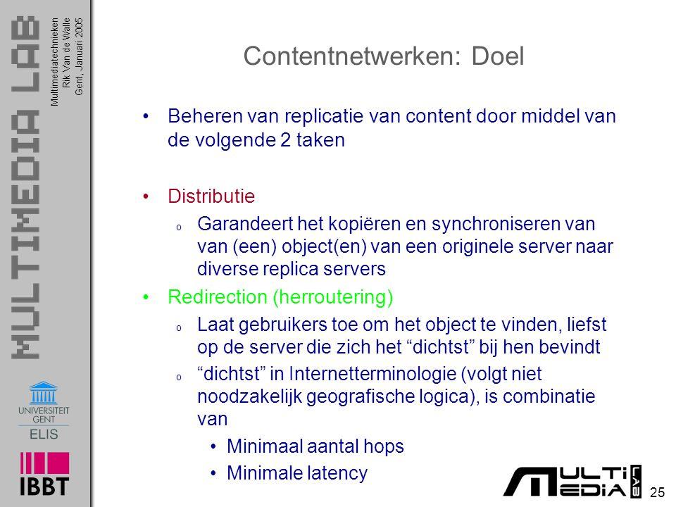 Multimediatechnieken 25 Rik Van de WalleGent, Januari 2005 Contentnetwerken: Doel Beheren van replicatie van content door middel van de volgende 2 tak
