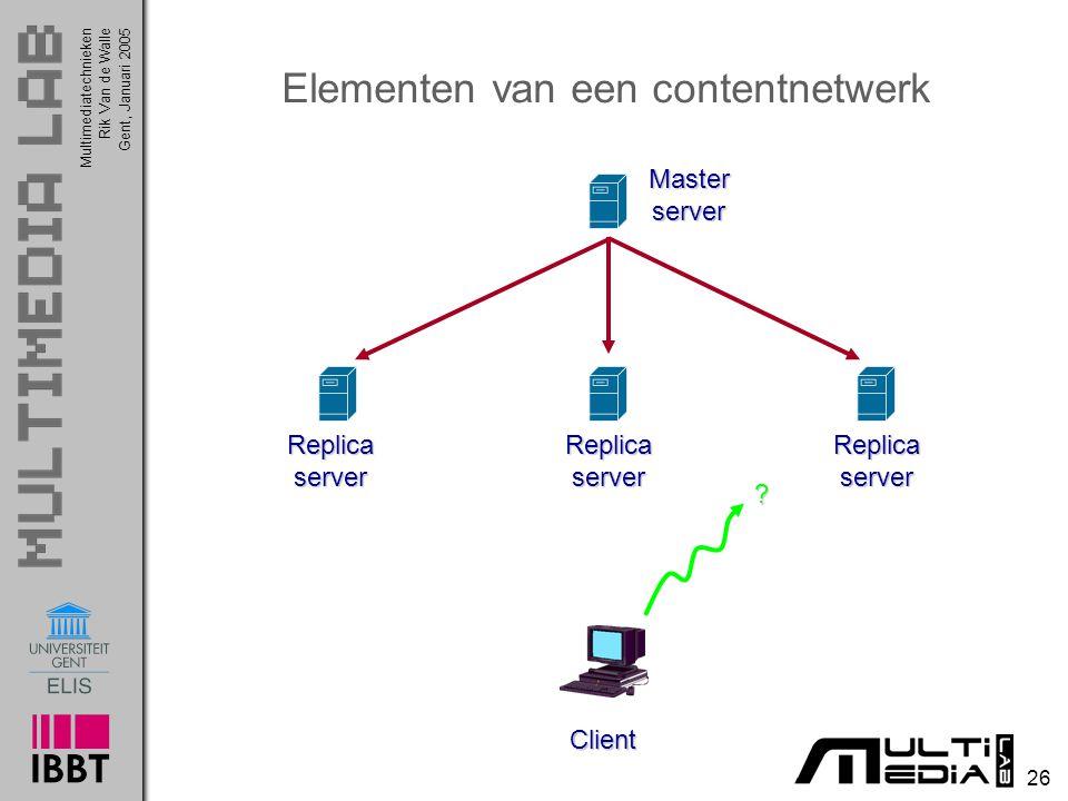 Multimediatechnieken 26 Rik Van de WalleGent, Januari 2005 Elementen van een contentnetwerk Client ReplicaserverReplicaserverReplicaserver Masterserve