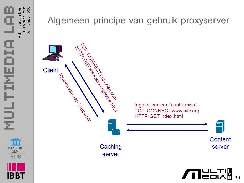Multimediatechnieken 30 Rik Van de WalleGent, Januari 2005 Algemeen principe van gebruik proxyserver Contentserver Cachingserver Client TCP: CONNECT p
