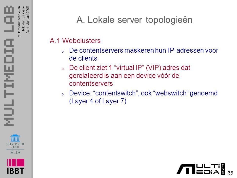 Multimediatechnieken 35 Rik Van de WalleGent, Januari 2005 A. Lokale server topologieën A.1 Webclusters o De contentservers maskeren hun IP-adressen v